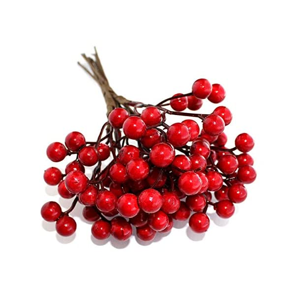 Artificial Berries Red Pip Berry Stems Spray for DIY Crafts – Wreath, Garland, Christmas Ornaments Decoration – Decorative Winter Floral Picks for Craft Decorations/Home Holiday Decor