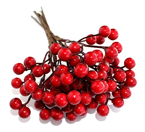Artificial Berries Red Pip Berry Stems Spray for DIY Crafts - Wreath, Garland, Christmas Ornaments Decoration - Decorative Winter Floral Picks for Craft Decorations/Home Holiday Decor Clearance Sale