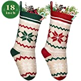 """LimBridge 2 Pack 18"""" Large Size Snowflake Stripe Knit Knitted Christmas Stockings, Xmas Rustic Personalized Stocking Decorations for Family Holiday Season Decor, White/Red/Green"""