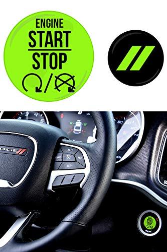 JDL Autoworks Compatible with 2015-2019 Dodge Charger/Challenger Starter Button Decal Overlay | 3D Domed SRT Style Red Start Stop Sticker Emblem | Push to Start Button Badge Cover Accessories (Green)