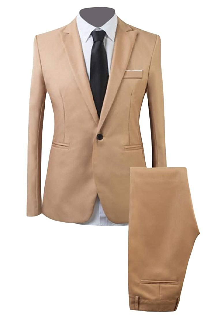 HEFASDM Mens Lapel Casual Solid Slim Button Plus Size Blazer Vest Pants Sets