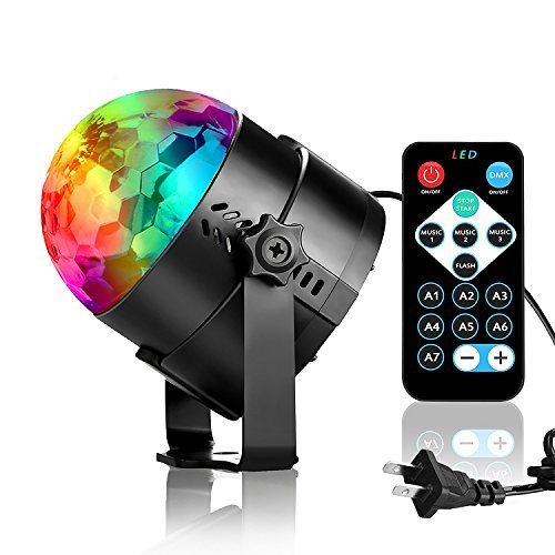 Disco Ball Party Lights, 3W RGB Sound Activated DJ Strobe Stage Lights, Perfect for Halloween Christmas, Home Party, Kids Birthday Gifts, Club Bar Wedding Holiday Karaoke Dance Night Lamps. -