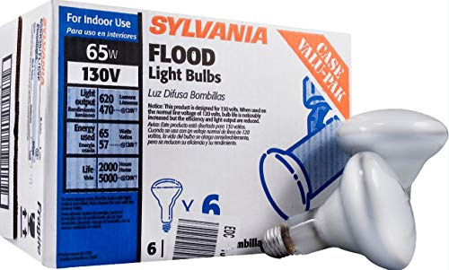 (Sylvania 65W BR30 Indoor Flood Light Bulbs, Soft White 130V - 15172 - Dimmable (6 Pack))