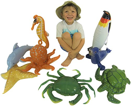 Sea Life Ocean Party Inflatables - Penquin, Dolphin, Seal, Sea Horse, Starfish, Turtle, Crab, Octopus - 8 Creature Set (Beach Theme Classroom)