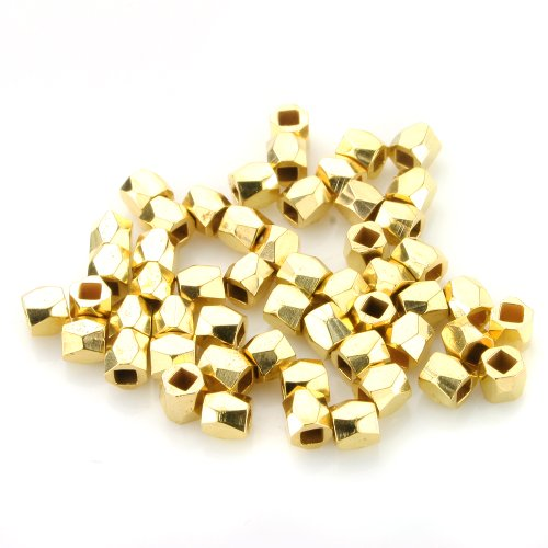 Gold Plated Silver Spacer - BEADNOVA 100pcs 3-3.5mm Gold Plated Faceted Nugget Beads Rondelle Spacer Beads for Jewelry Making