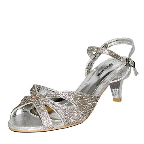 99212ca5655 Rock on Styles Ladies Party Diamante Wide Feet Low Kitten Heel Shoes Sandal  Plus Size A-239 - Buy Online in UAE.