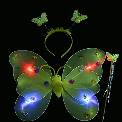 Yellow 3PCS Girls Led Flashing Light Up Fairy Butterfly Wings Wand Headband Costume Dress-Up Toy, Perfect for Kids Girls In Kindergarten, Birthday, Hallowmas Party Fancy Dress]()