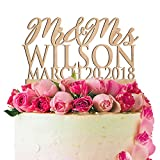 Personalized Wedding Cake Topper Customized Wedding Date, Mr. and Mrs. Last Name 4 Color Type and 24 Colors Design 7 (Wood Colors)