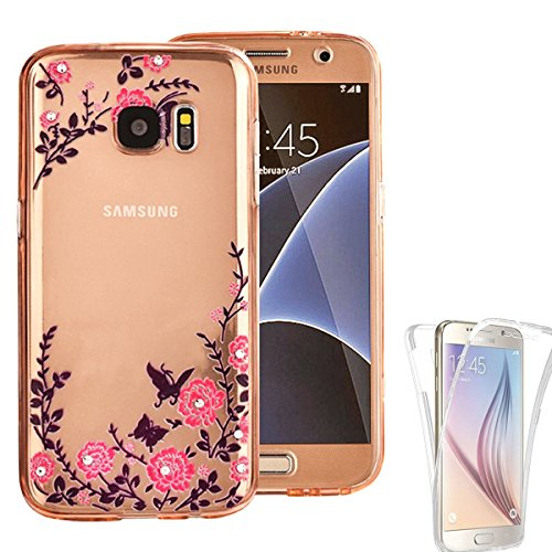 Samsung Galaxy S7 Edge Case, AMASELL [Full-Body Coverage] Scratch-Resistant Soft Crystal Protective TPU Silicone Rubber Cover with Bling Butterfly Garden Flower, Bling Rose Gold