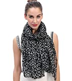 Lina & Lily Sunglasses Print Women's Large Scarf Lightweight (Black)
