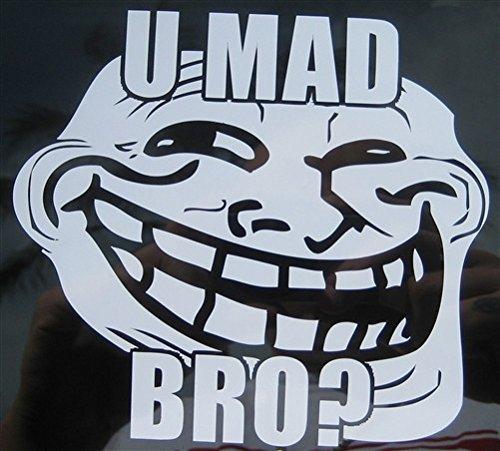 U MAD Bro? Troll Face Meme Die Cut Vinyl Sticker Decal