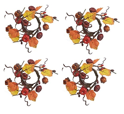 - Harvest Pumpkin Leaves Vine Design Set of 4 Napkin Rings