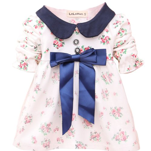 CM-Kid Baby Girls' Mini Floral Bowknot Banded Waist Mesh Dresses 3-15 Months