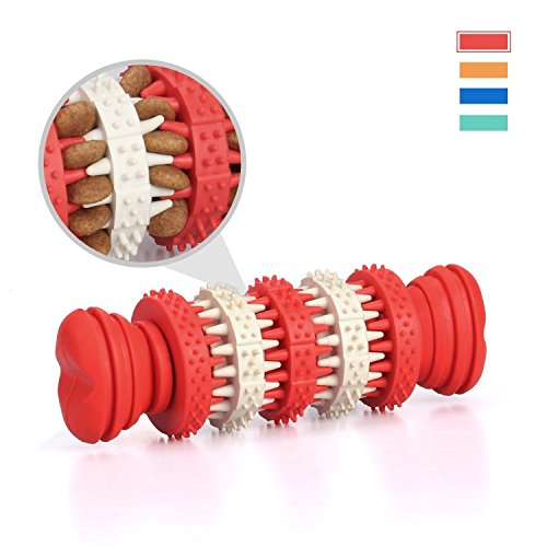 Chew Toys, MixMart Interactive Dog Rubber Chew Bone Toy Dental Treat for Chewing and Playing (Red)