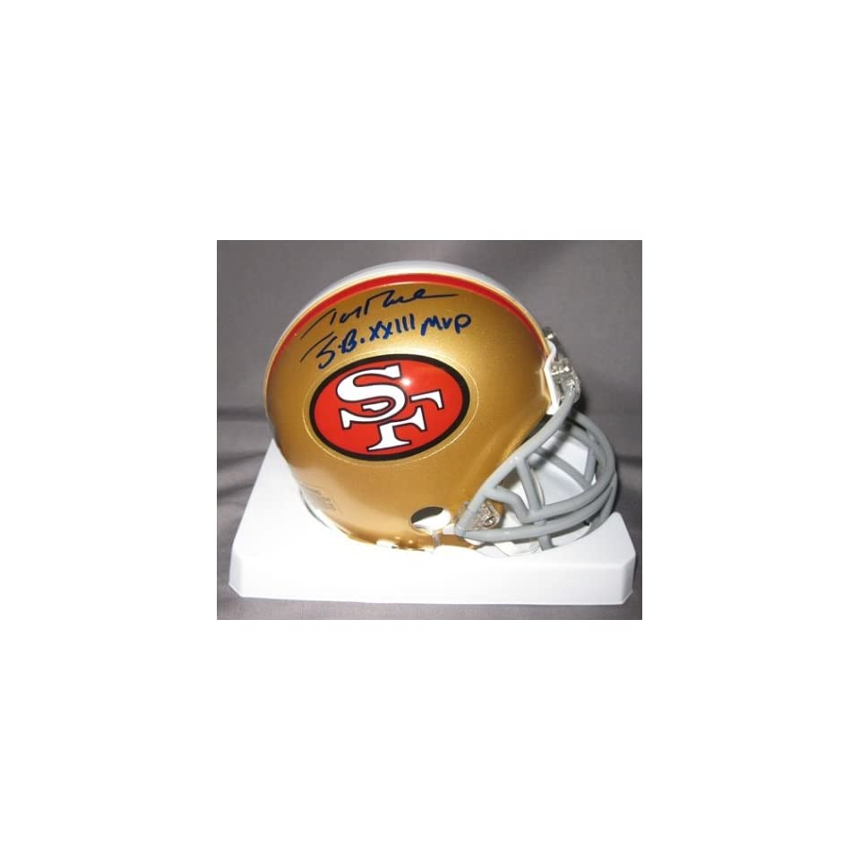 Jerry Rice San Francisco 49ers NFL Hand Signed Mini Football Helmet with SB XXIII MVP Inscription