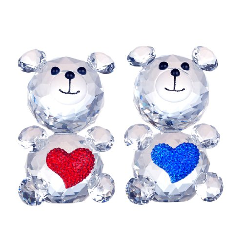 H&D 2pcs Baby Bear Heart Figurine Collection Cut Glass Ornament Statue Animal Collectible (Optical Glass Collection)