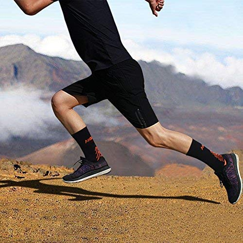 IMITOR Men Cushion Crew Hiking Socks Arch Compression No Blister Breathable Moisture Wicking for Outdoor Sports Cycling Running Walking Trekking Cycling Gym - Free Size 3 Pairs Black Grey
