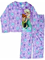 Disney Frozen Girls 2 PC Elsa & Anna Purple Pajamas Top & Bottoms Sleep Set