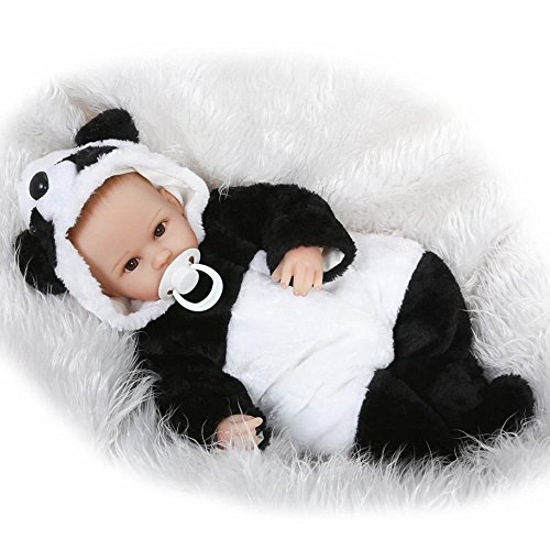 Reborn Baby Doll Girl Panda Outfit Look Real Black and White 17 Inches Reborn Baby Girl
