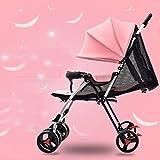 Kinderwagen Kind liegen Winter ultraportability einfachen kleinen Klappkinderwagen Buggy BB vier sitzen ( farbe : Light Pink )