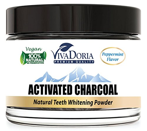 Price comparison product image Viva Doria Teeth Whitening Activated Charcoal Powder - Natural Tooth Whitener, 1.5 oz glass jar