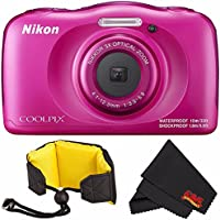 Nikon COOLPIX W100 Digital Camera (Pink) (International Model) + Nikon Waterproof Floating Strap + MicroFiber Cloth Bundle