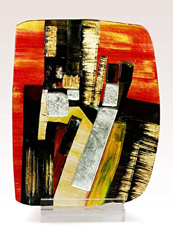 (Jasmine Art Glass 8-71129 Fused Square Sculpture)