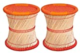 Ananya Creations Cane Wood Sitting Stool / Chair Full Size Red&Orange Set Of 2