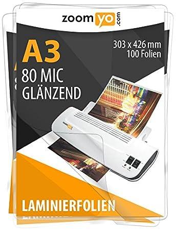 Laminierfolien A3 303 x 426mm 2x 125 mic Hochglanz Laminiertaschen Folien