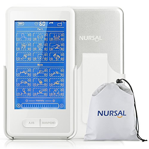 NURSAL Touch Screen TENS EMS Combination Unit with Back Clip for Pain Relief and Management and Rehabilitation Electronic Pulse Stimulator Massager with 8 Pads Therapy Machine ...
