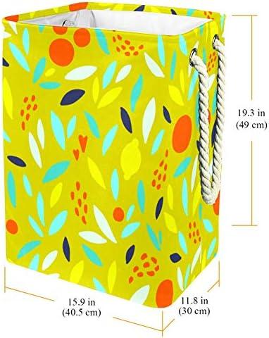 Tizorax Panier à linge mignon oranges citrons/feuilles Panier à linge pliable