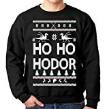 Ho Ho Hodor Ugly Christmas Sweatshirt (Large, Black)