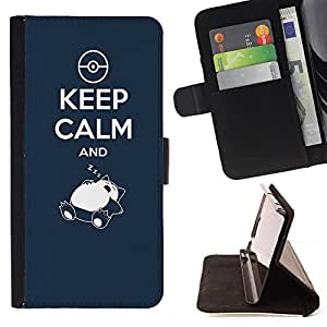 Dragon Case- Caja de la carpeta del caso en folio de cuero del tir¨®n de la cubierta protectora Shell FOR Sony Xperia m55w Z3 Compact Mini- Kepp Calm and Sleeping