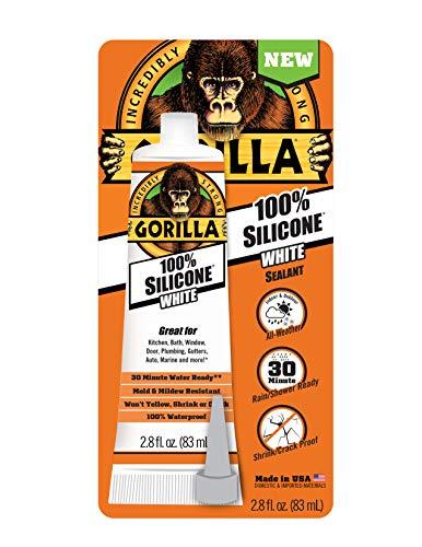 Gorilla 8060810 White Tube Silicone Sealant 2.8oz