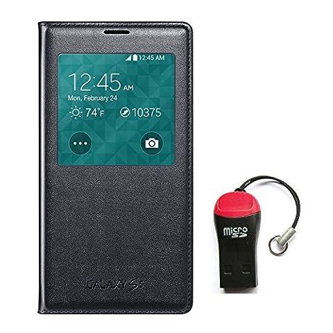 Samsung Galaxy Case S View Flip Cover Folio - W/SD Reader - Non Retail Packing - (Galaxy S5 - (Cell Phone Samsung Windows 8)