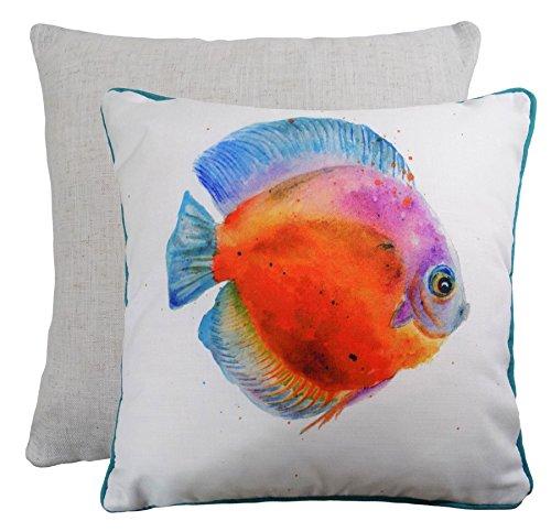 EVANS LICHFIELD MADE IN UK COASTAL OCEAN SEA MARINE FISH BLUE WHITE THROW PILLOW SCATTER CUSHION COVER SHAM 43CM - (Fish Sham)