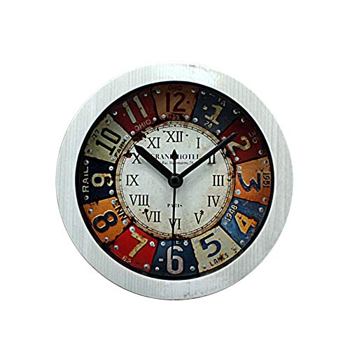 (Nostalgic retro iron painting small alarm clock stereo wood alarm clock, 5-inch battery-powered alarm clock, suitable for bedroom living room)
