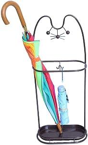 WLG Homeware Umbrella Stands, Lucky Cat Wrought Iron Household Hanging Umbrella Multifunctional Floor Creative Fashion Moisture Umbrella Bucket Storage Rack Rain Gear Plac
