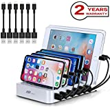 Charging Station 6 Ports USB - 50W Fast Charger Station with Smart Identification Technology, Universal and Compact Charging Organizer for Multiple Devices
