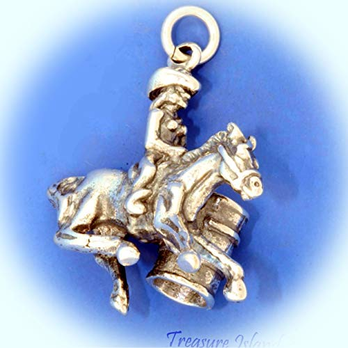 Barrel Racing Female Horse Racer Rodeo Cowgirl .925 Sterling Silver Charm Cowboy Vintage Crafting Pendant Jewelry Making Supplies - DIY for Necklace Bracelet Accessories by CharmingSS