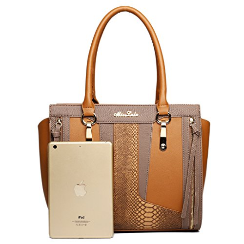 Leather Bag Contrast Snakeskin Lulu Brown Structured Look Miss Brown Brown Shoulder 5wTA7qI0