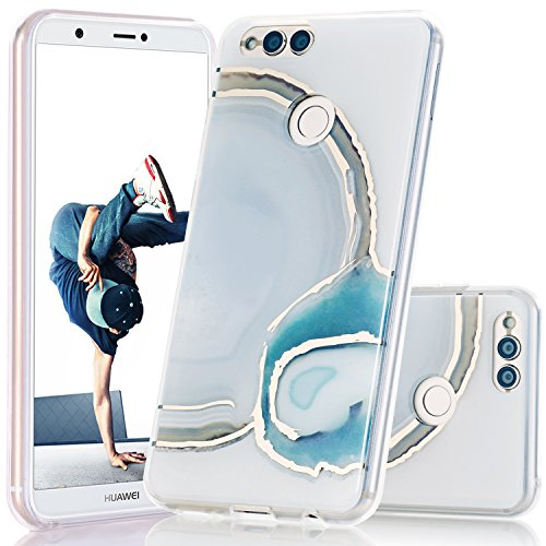 Huawei Mate SE/Honor 7X Case, BAISRKE Shiny Gold Green Marble Agate Crystal Design Shock Absorption Soft Clear TPU Edge Bumper and Rigid Hard Plastic Back Cover for Huawei Honor 7X/Mate SE