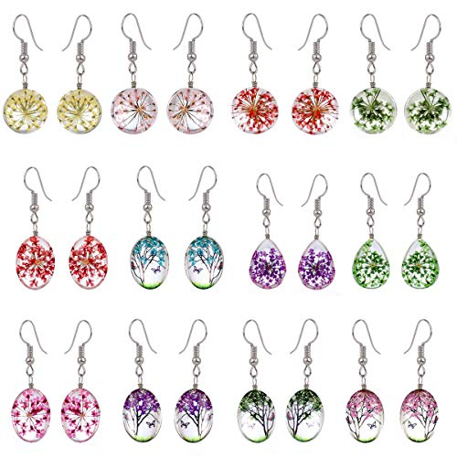 Tamhoo 12 Pairs Multicolor Pressed Flower Life of Tree Ball Circle Drop Dangle Earrings Yellow Pink Purple Red Green Turquoise Queen Anne's Lace Earring Gift Set for Girls Women