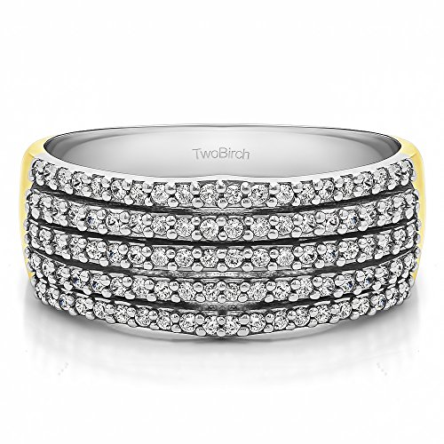 TwoTone Plated Silver White Sapphire .5 CT Multi Row Prong Wedding Ring (Size 3 To 15 1/4 Size Interval)