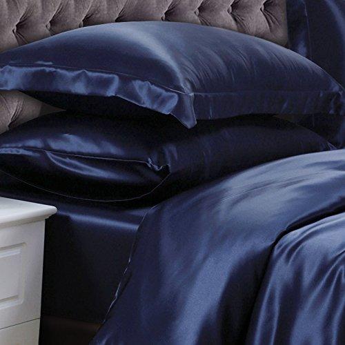 """Vuvet Bedding 100% Pure Silk Satin Sheet Set 4pcs, Silk Fitted Sheet 15"""" Deep Pocket,Silk  ..."""
