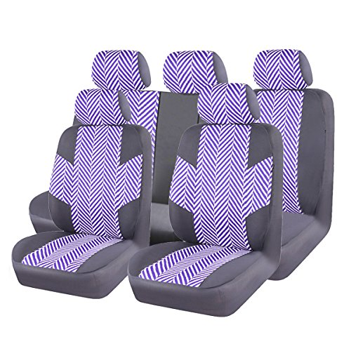 NEW ARRIVAL-Car Pass HOMESTYLE Ramie Cotton Universal Fit car seat covers With Opening Holes for headrest and seat belt ,Airbag Compatiable(Black With Purple)