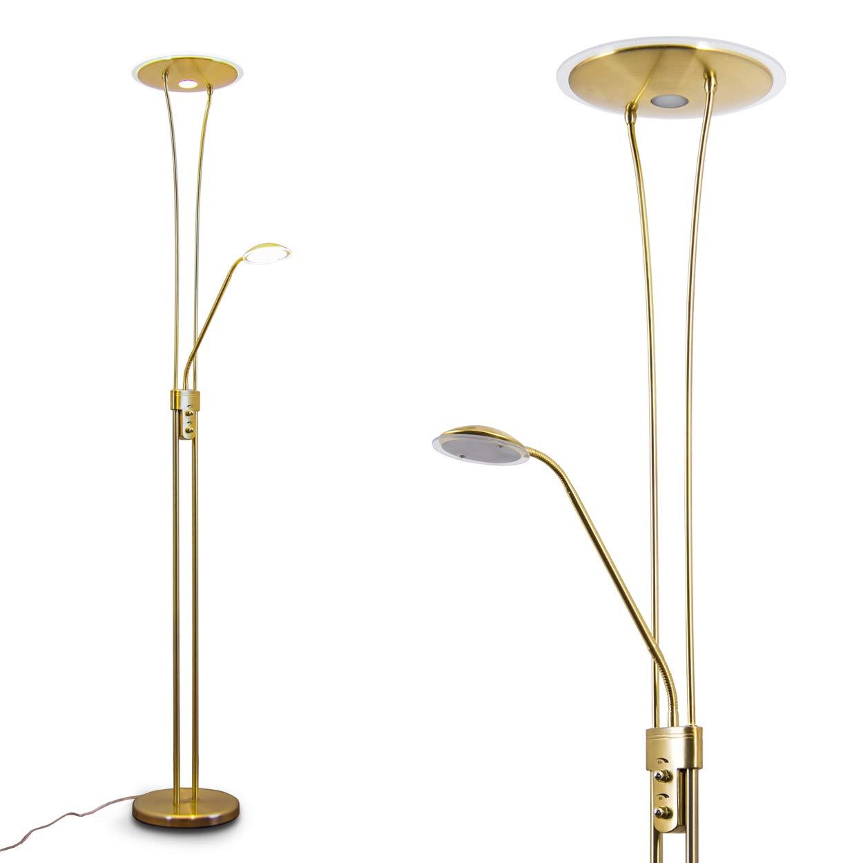 LED Deckenfluter Marana nickel 1 x 18 Watt - 1620 Lumen und 1 x 5 Watt 450 Lumen 3.000 Kelvin warmweiss hofstein H166124