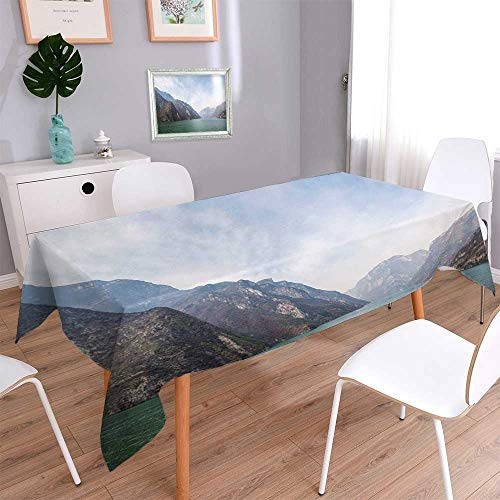PINAFORE HOME Tablecloth Stain Resistant The wu Gorge of Three Gorges at The yangtze River Near badong hubei China Cover Assorted Size/Rectangle, 60 x 126 - Magnet Rectangle China