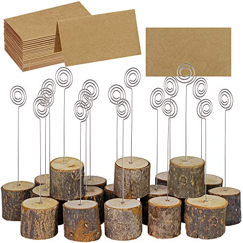 (Supla 20 Pcs Rustic Wood Place Card Holders with Swirl Wire Wooden Bark Memo Holder Stand Card Photo Picture Note Clip Holders 5.8