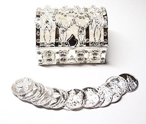 - Joice Gift Silver Wedding Arras Treasure Chest Box Decorative Rhinestone Crystals